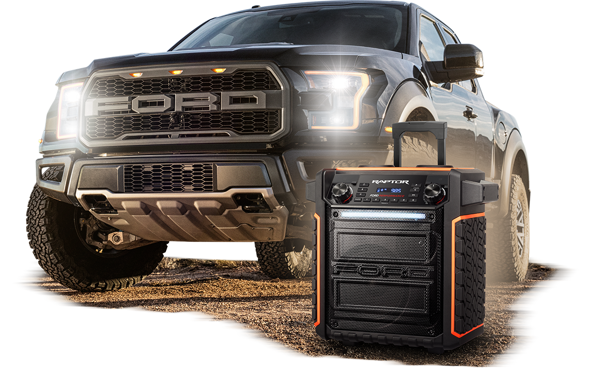 The ford raptor pickup truck from its all terrain tire tread side panels to the rugged handles this is one speaker that can take anything you throw at